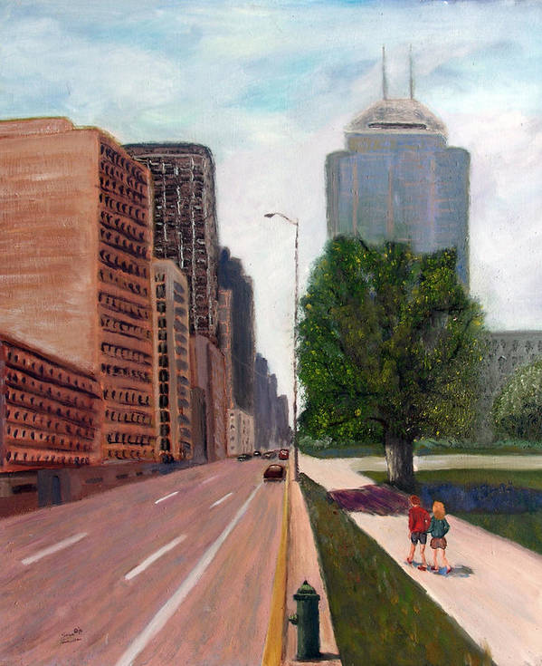 Cityscape Poster featuring the painting Indy Kids by Stan Hamilton