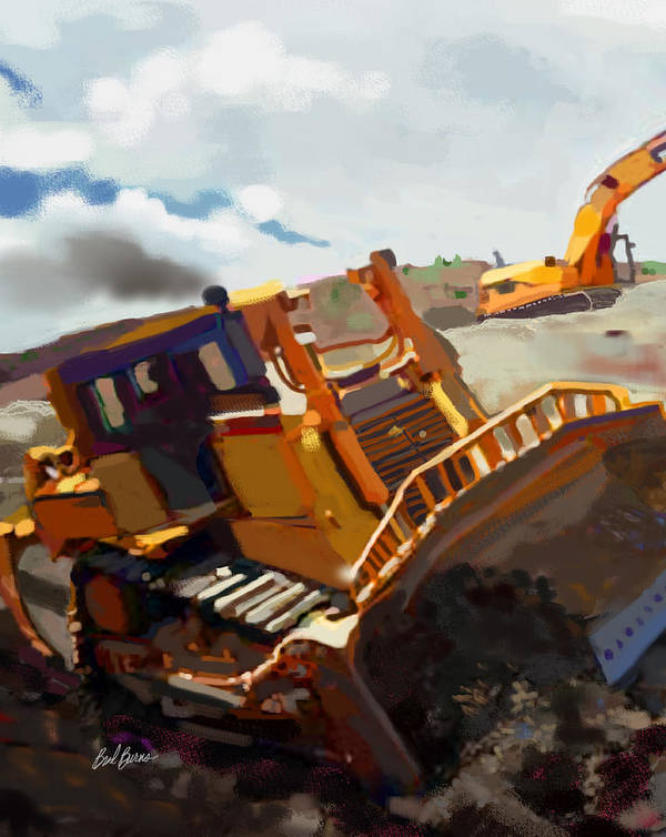 Bulldozers Poster featuring the painting Infineon Raceway by Brad Burns