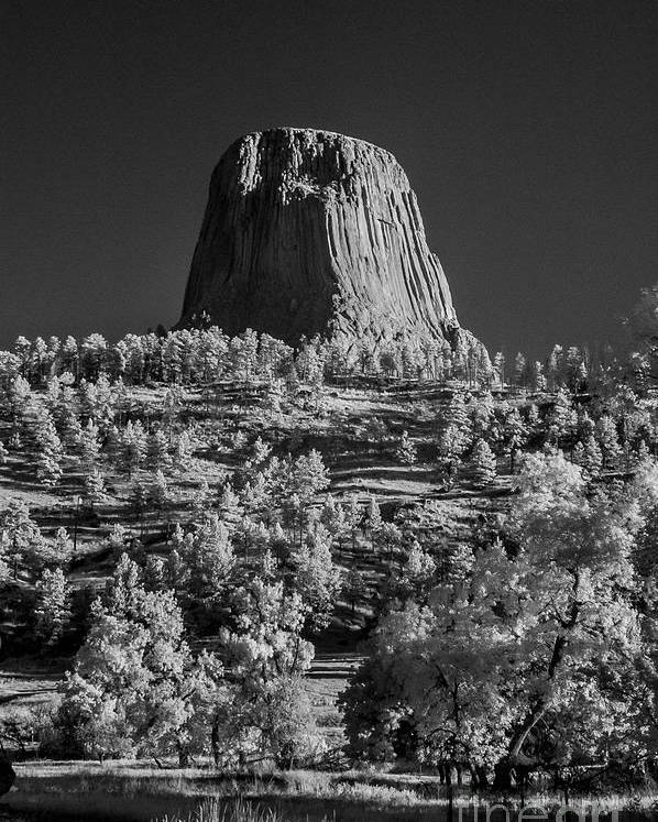 Black & White Poster featuring the photograph Infrared Devilstower #4 by Bill Piacesi