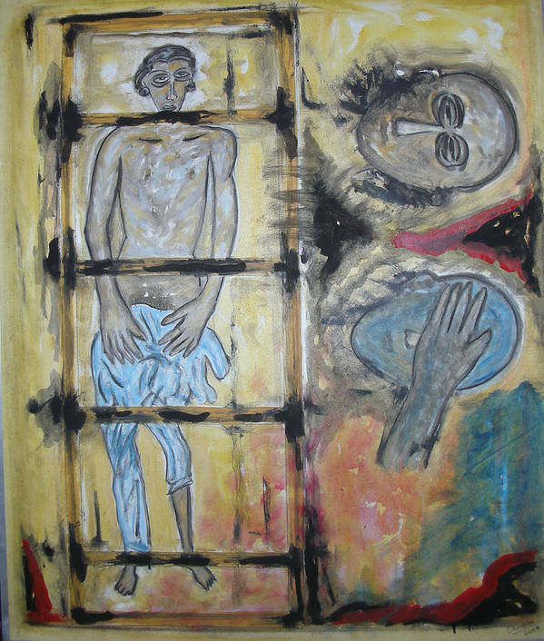 Man Poster featuring the painting Inhumanity by Narayanan Ramachandran