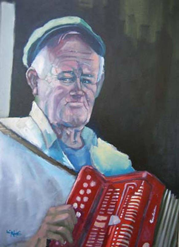 Portrait Figure Poster featuring the painting Inis Mor Accordian Player by Kevin McKrell