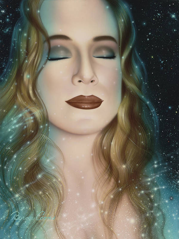 Portrait Poster featuring the painting Inner Beauty Of Outer Space by Brigit Byron Coons