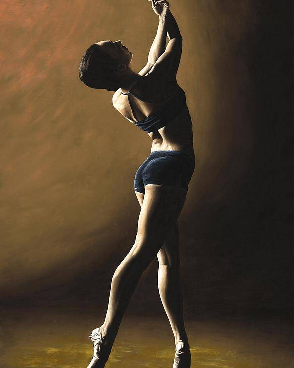 Dance Dancer Dancing Modern Female Woman Lady Girl Pointe Shadow Light Beauty Beautiful Young Art Poster featuring the painting Inner Sanctuary by Richard Young