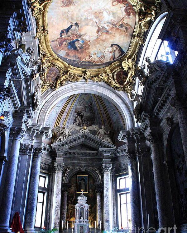 Venice Poster featuring the photograph Inside The Church Santa Maria Della Salute In Venice by Michael Henderson