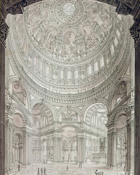 Church; Architecture; Dome; Baroque; Christopher Wren Poster featuring the drawing Interior Of Saint Pauls Cathedral by John Coney