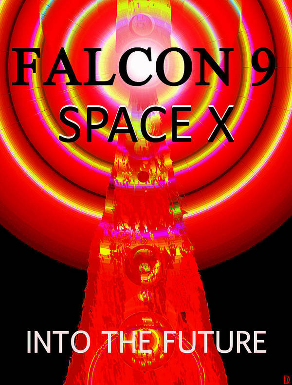 Falcon 9 Poster featuring the painting Into The Future Falcon 9 by David Lee Thompson
