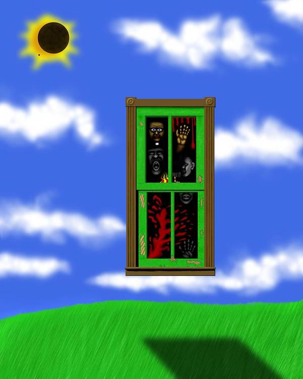 Surrealism Poster featuring the digital art Into The Green Window by Robert Morin
