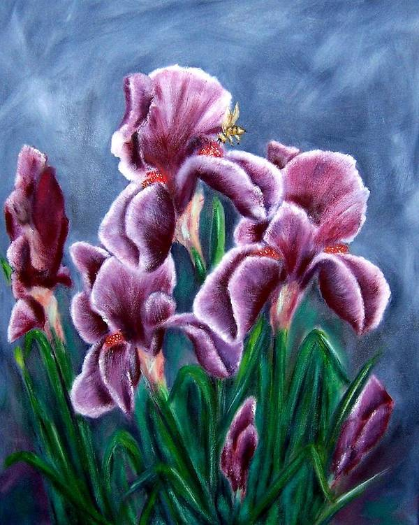 Floral Poster featuring the painting Iris Awakens by Penny Everhart