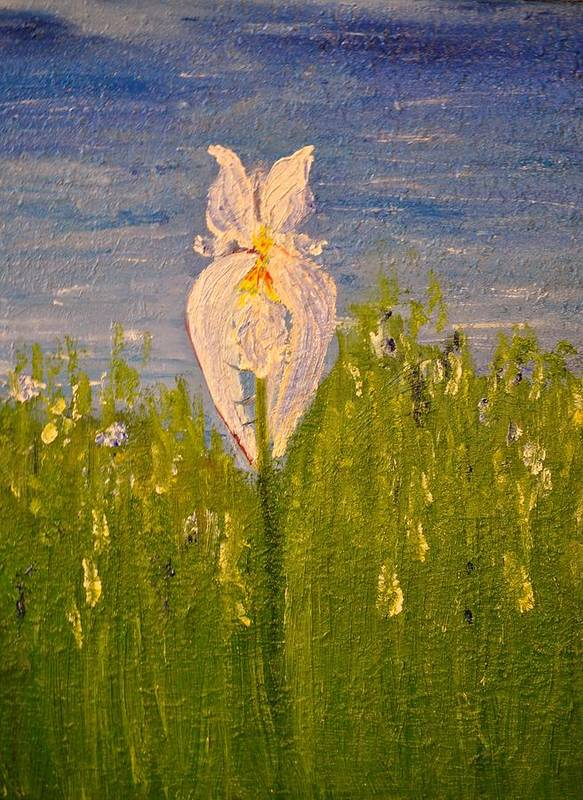 Flower Poster featuring the painting Iris by Evelina Popilian