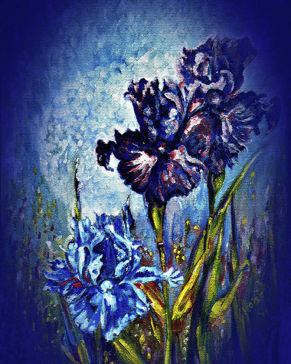 Flowers Poster featuring the painting Iris by Harsh Malik