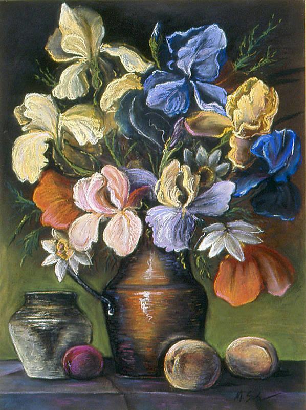 Still Life Poster featuring the pastel Iris In Brass Pitcher by Michael Scherer