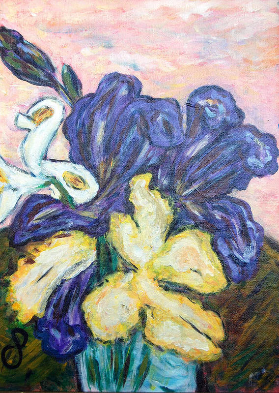 Iris Poster featuring the painting Iris Still Life by Carolyn Donnell
