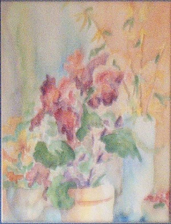 Watercolor Poster featuring the painting Irises And Company by Sheri Hubbard