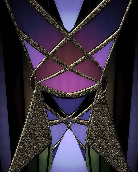 Geometric Abstract Poster featuring the digital art Iron Butterfy 2 by Warren Furman