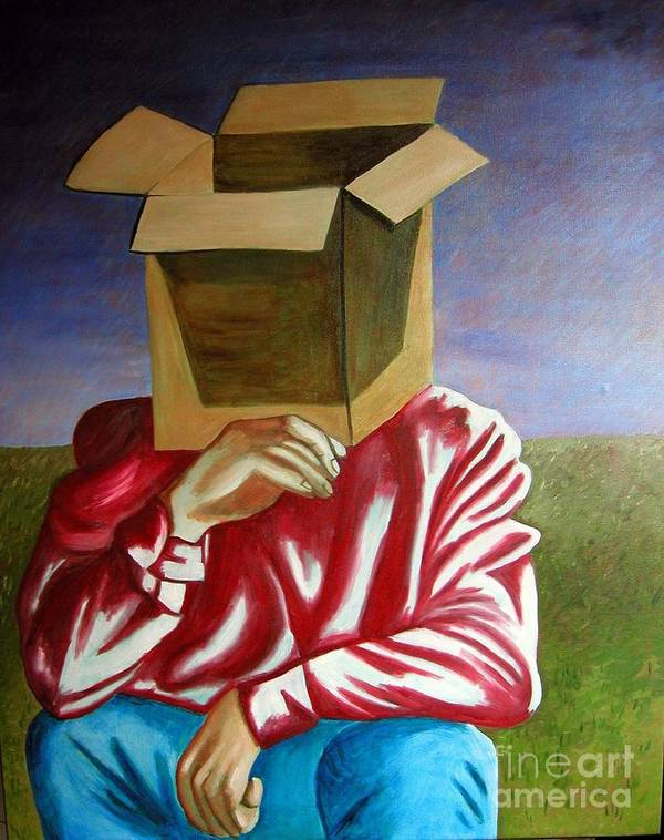 Identity (symbolic Art) Poster featuring the painting Is The Self Just An Empty Box by Tanni Koens