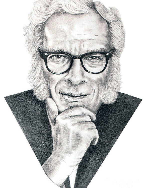 Portrait Poster featuring the drawing Isaac Asimov by Murphy Elliott