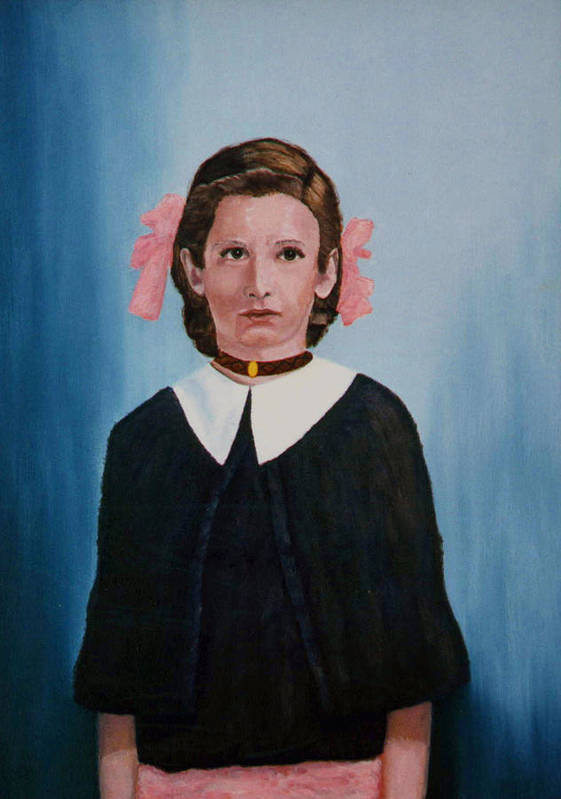 Portrait In Oil Poster featuring the painting Isabel at 12 by Stan Hamilton
