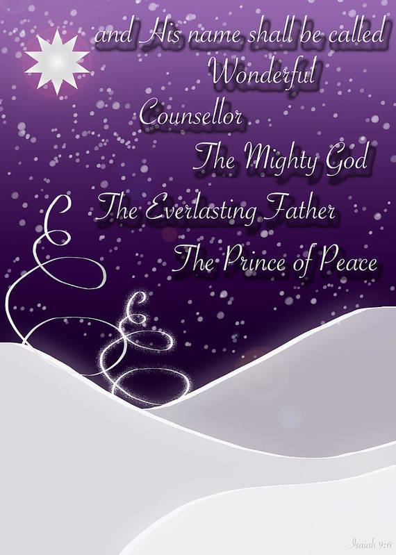 Isaiah 9:6 Poster featuring the digital art Isaiah Chapter 9 Verse 6 Christmas Card by Lisa Knechtel