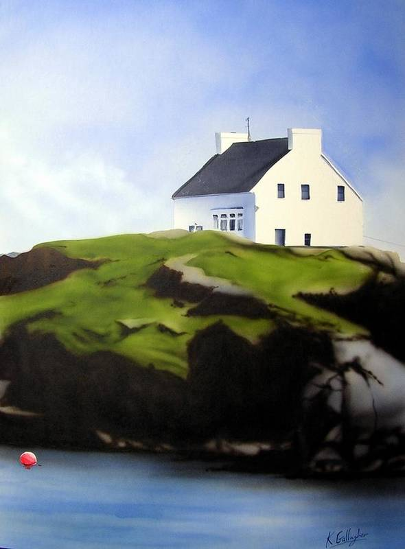 Island Ireland Donegal Poster featuring the painting Island House by Kevin Gallagher