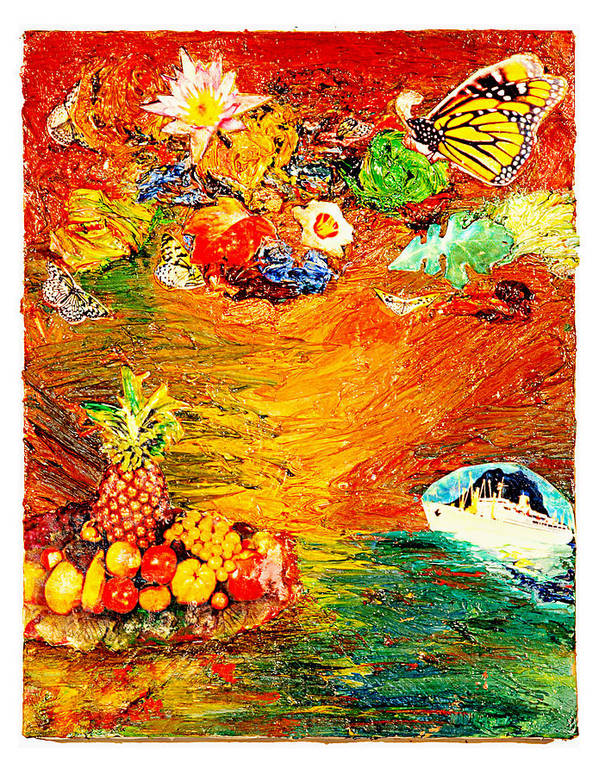 Collage Poster featuring the painting Island by Howard Goldberg