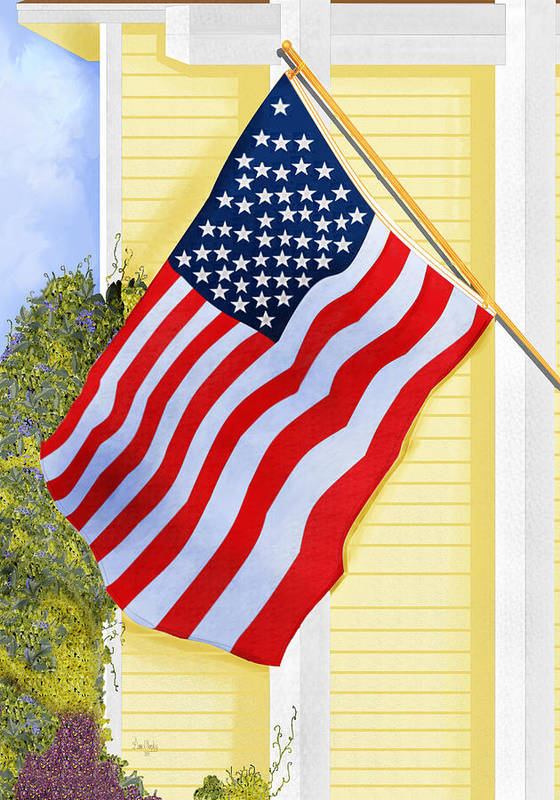 U.s. Flag Poster featuring the painting It Will Fly Until They All Come Home by Anne Norskog
