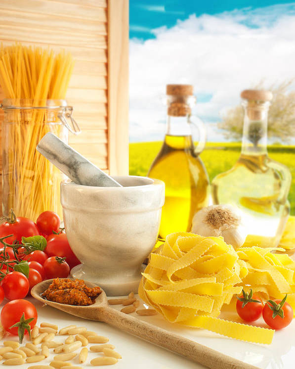 Spaghetti Poster featuring the photograph Italian Pasta In Country Kitchen by Amanda Elwell