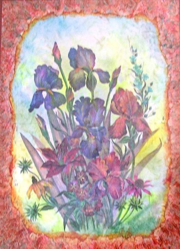 Floral Poster featuring the mixed media Itallian Garden by John Vandebrooke