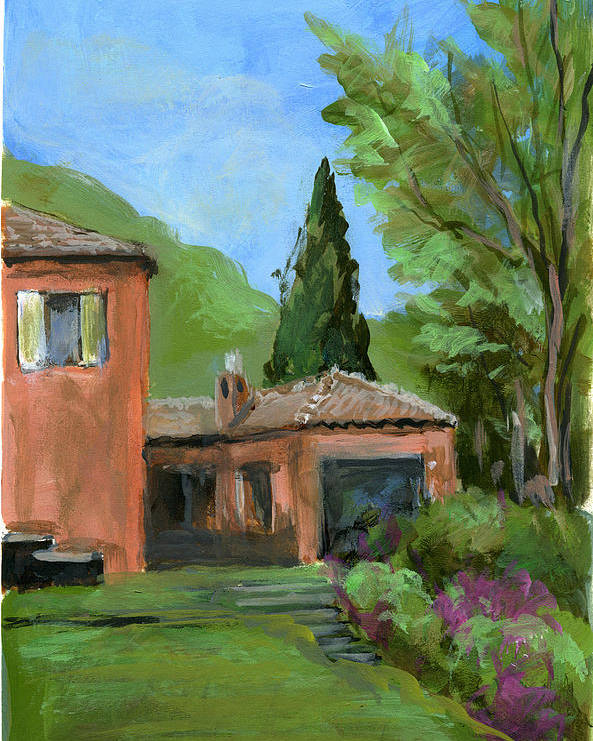 Landscape Poster featuring the painting Italy001 Somewhere In Sicily by Silvana Siudut