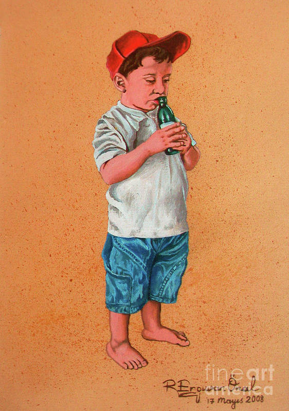 Summer Poster featuring the painting It's A Hot Day - Es Un Dia Caliente by Rezzan Erguvan-Onal