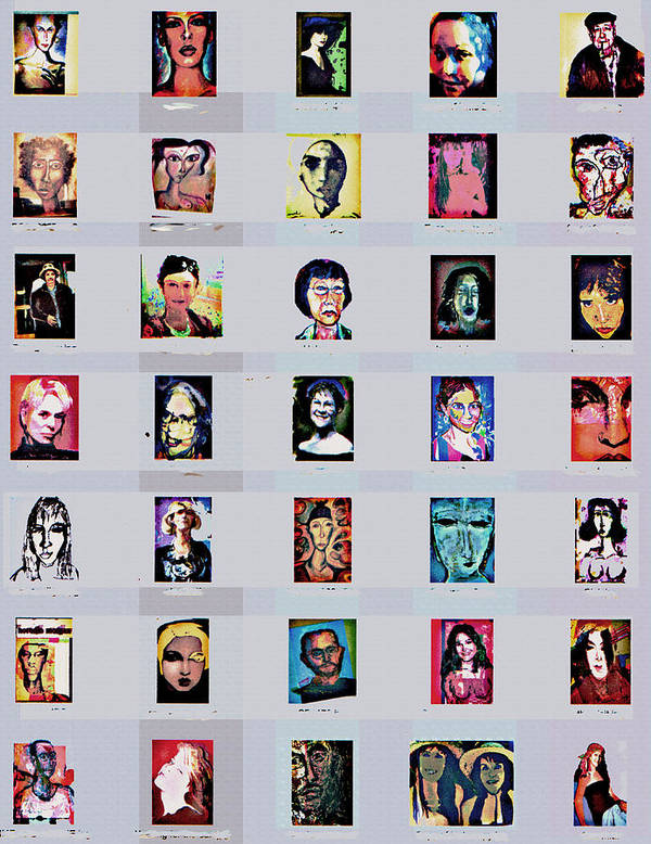 Faces Poster featuring the digital art It's All About Faces by Noredin Morgan