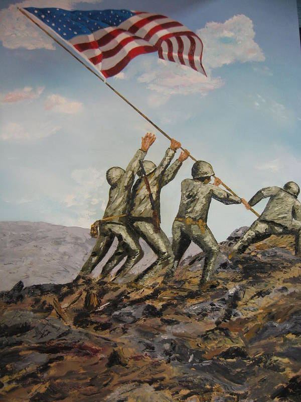 Military Art Poster featuring the painting Iwo Jima by Brian Hustead