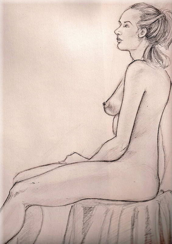 Female Nude Drawing Figure Study Poster featuring the drawing J In Session by Hilary England
