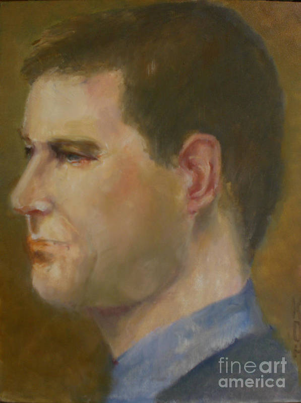 Contemporary Male Portrait Poster featuring the painting Jack          copyrighted by Kathleen Hoekstra