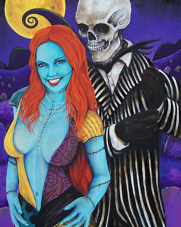 Jack Skellington Poster featuring the painting Jack And Sally by Michael Vanderhoof