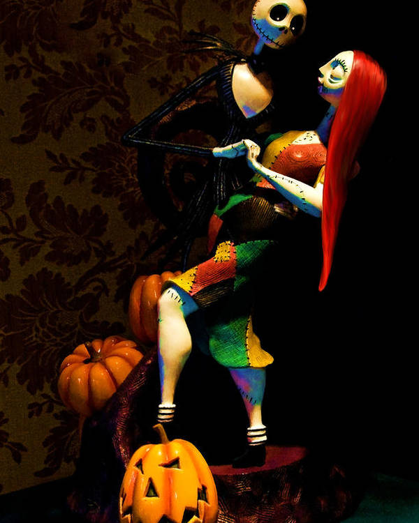Tim Burton Poster featuring the digital art Jack And Sally by Thanh Thuy Nguyen