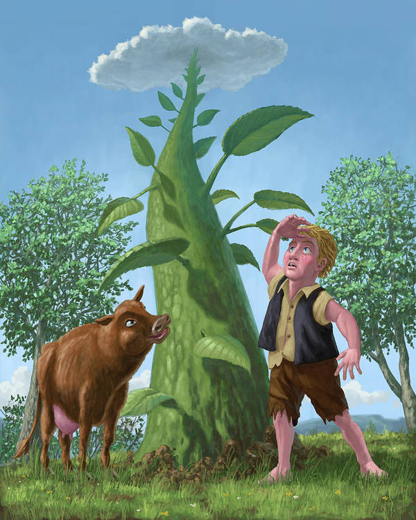Jack Poster featuring the painting Jack And The Beanstalk by Martin Davey