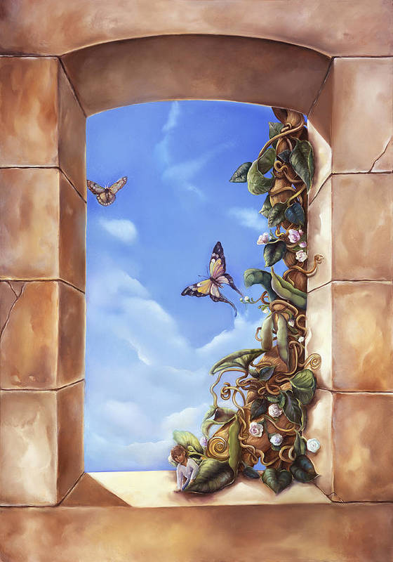 Jack And The Beanstalk Window Poster featuring the painting Jack And The Beanstalk Window by Mary Johnson