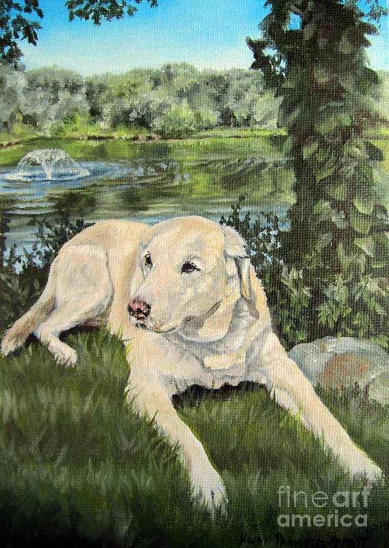 Yellow Lab Poster featuring the painting Jack by Heidi Parmelee-Pratt
