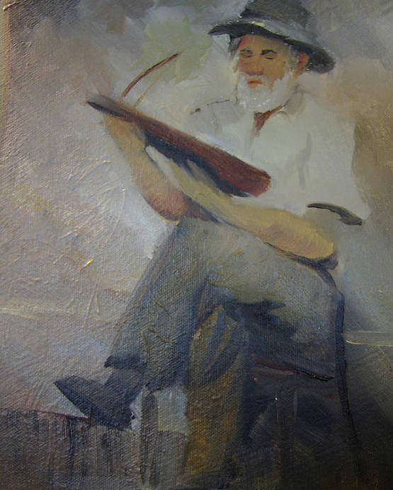 Dulcimer Poster featuring the painting Jack Smitherman Playing The Bowed Psaltery by Jill Holt