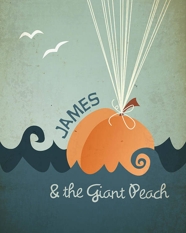 James Poster featuring the digital art James and the Giant Peach by Megan Romo