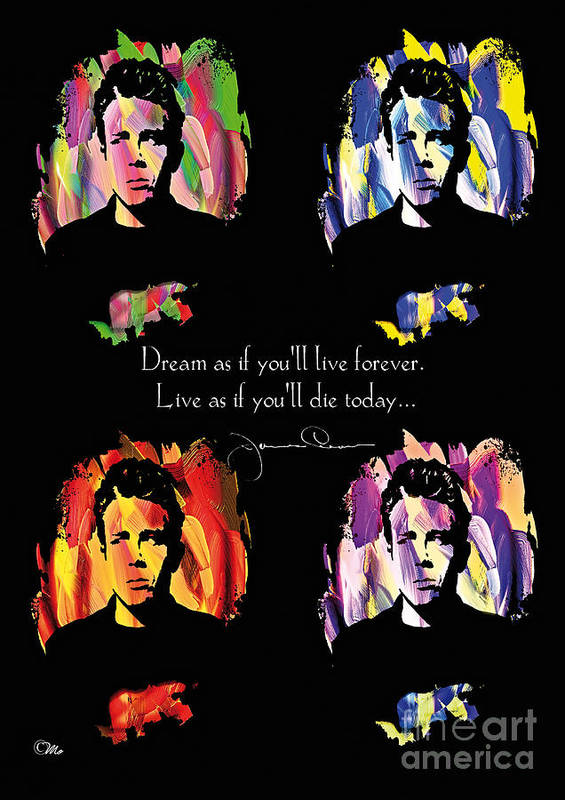 James Dean Poster featuring the digital art James Dean by Mo T