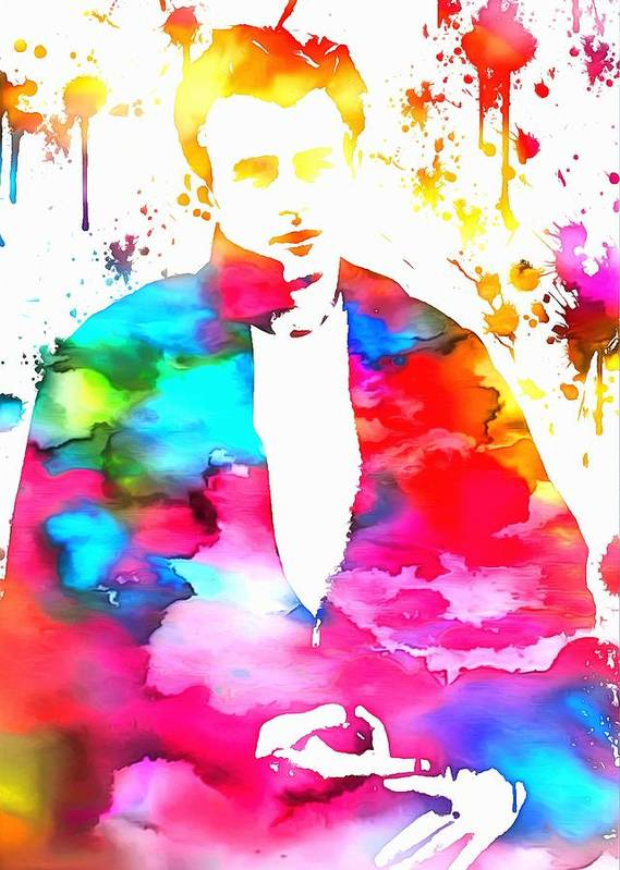 James Dean Paint Splatter Poster featuring the painting James Dean Watercolor by Dan Sproul
