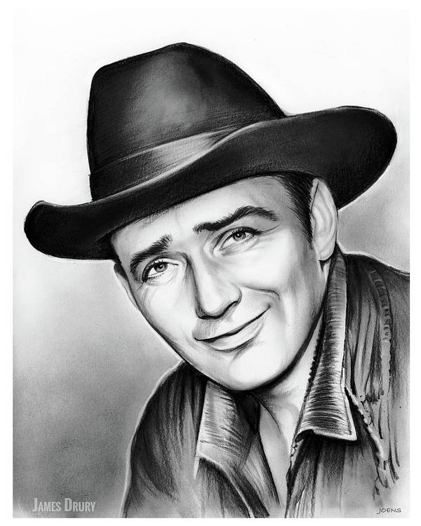James Drury Poster featuring the drawing James Drury by Greg Joens
