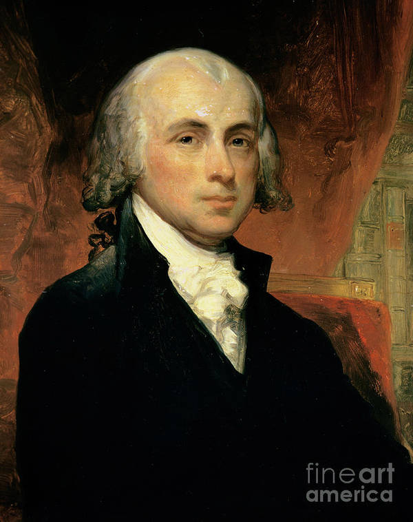 James Madison (oil On Canvas) By American School (19th Century) Poster featuring the painting James Madison by American School