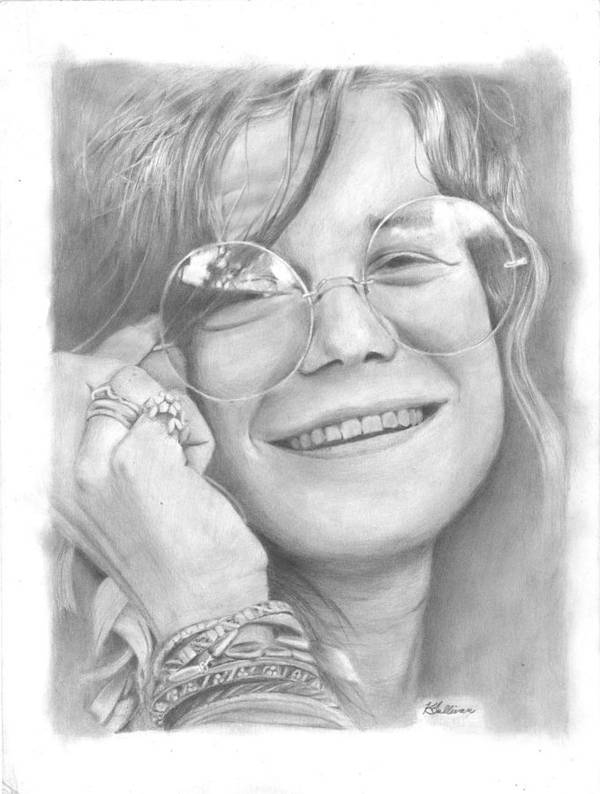 Janis Joplin Poster featuring the drawing Janis by Kevin Sullivan
