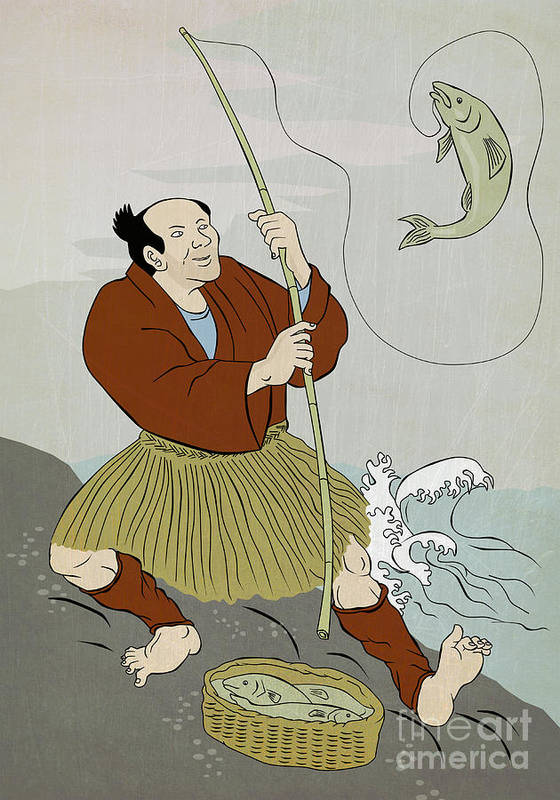 Japanese Poster featuring the digital art Japanese Fisherman Fishing Catching Trout Fish by Aloysius Patrimonio