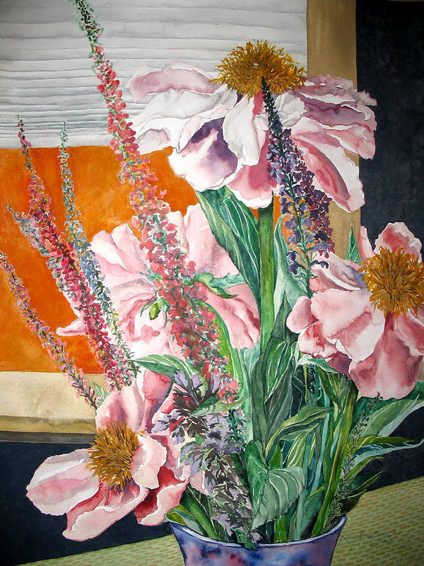 Painting Poster featuring the painting Japanese Peonies Bouquet by Caron Sloan Zuger