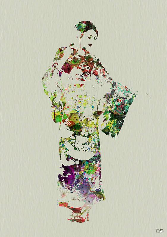Kimono Poster featuring the painting Japanese Woman In Kimono by Naxart Studio
