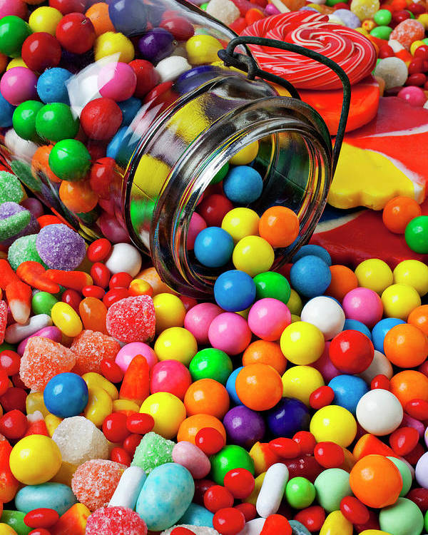 Jar Spilling Bubblegum Candy Concept Concept Conceptual Color Colour Colorful Poster featuring the photograph Jar Spilling Bubblegum With Candy by Garry Gay