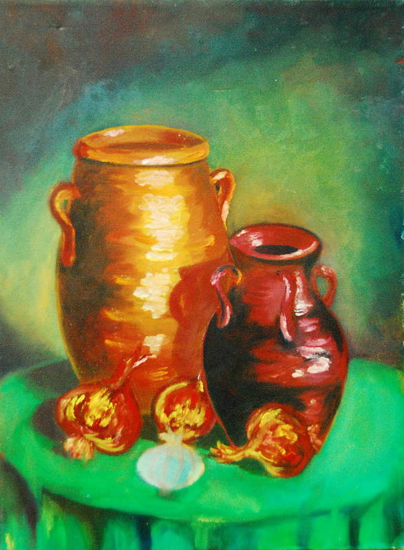 Jars Poster featuring the painting Jars by Matthew Doronila